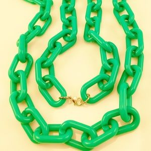 Jewelry - GREEN ACRYLIC LONG LINK NECKLACE CHAIN NEW